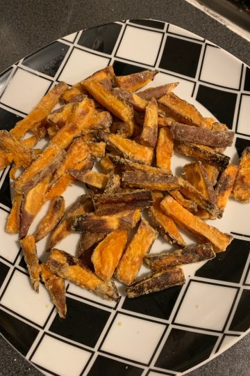crispy sweet potato fries on a plate